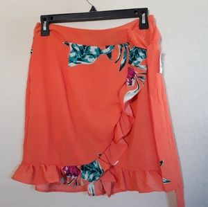 Charlotte Russe Orange Floral Wrap Skirt - New NWT